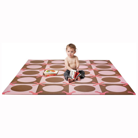 Skip Hop Playspot - Interlocking Foam Tiles - Pink/Brown -2