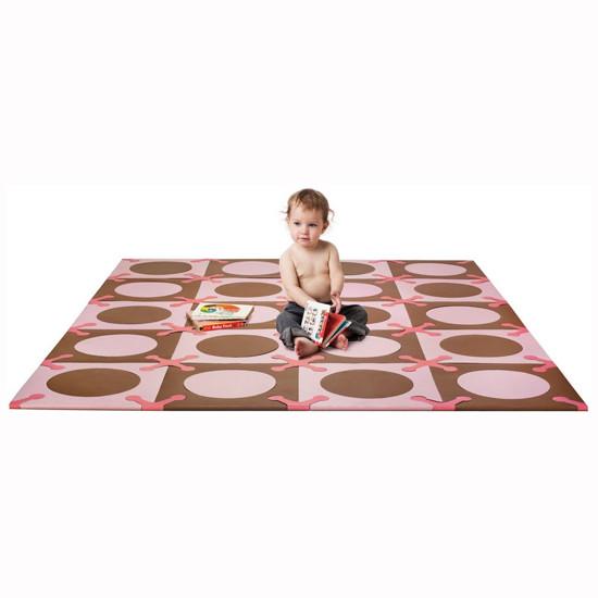 Skip Hop Playspot - Interlocking Foam Tiles - Pink/Brown -2