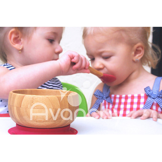 Avanchy 5 Bamboo/Silicone Baby Feeding Spoons - Assorted Colors