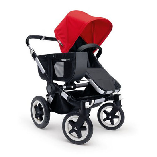 Bugaboo Donkey Mono Base with Faux Leather - Aluminum/Black
