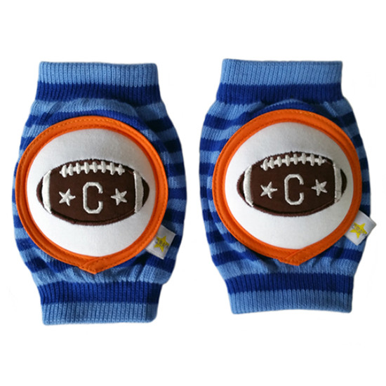 Crawlings Baby Knee Pad - Cobalt Blue Striped Football