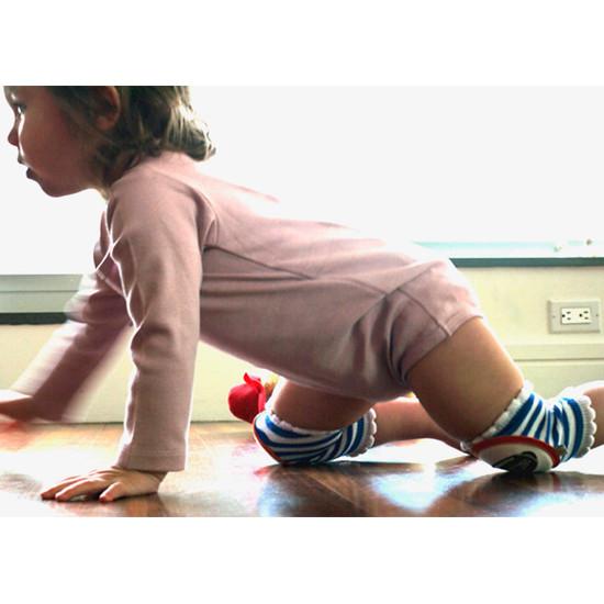 Crawlings Baby Knee Pad - Cobalt Blue Striped Football -2