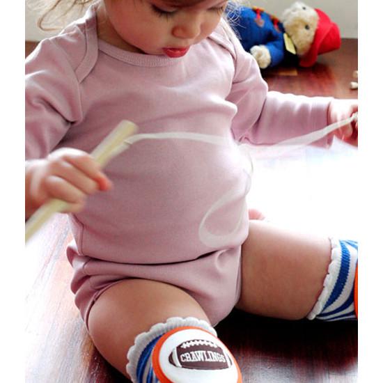 Crawlings Baby Knee Pad - Cobalt Blue Striped Football -3