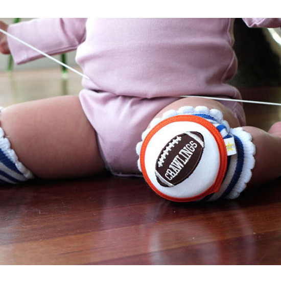 Crawlings Baby Knee Pad - Cobalt Blue Striped Football -4