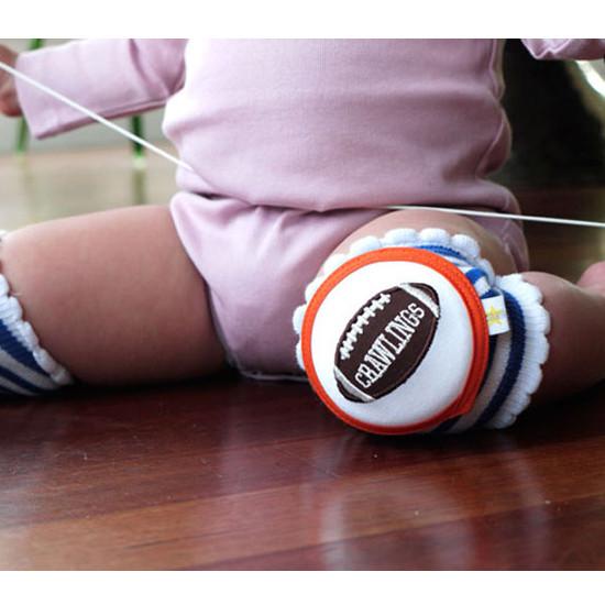 Crawlings Baby Knee Pad - Cobalt Blue Striped Football -4