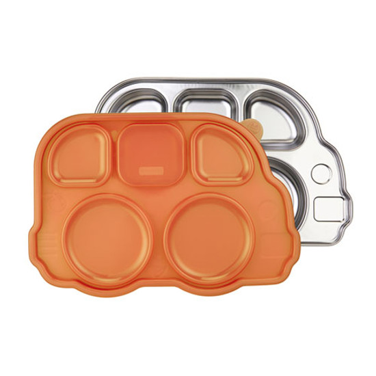 Innobaby Din Din Smart Stainless Bus Platter with Lid - Orange