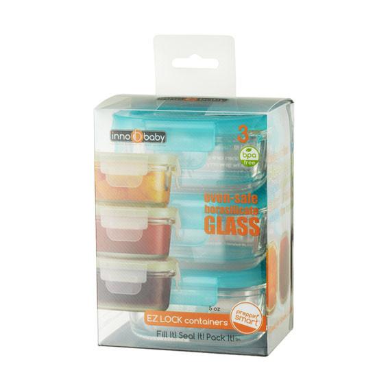 Innobaby Preppin' SMART EZ Lock Glass Container - 3 Pack-4