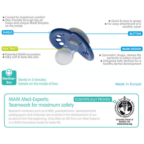 MAM Night & Day Silicone Pacifier 3pk - 6+ Mon-4