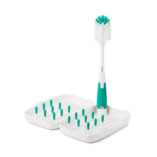 OXO TOT On-The-Go Drying Rack with Bottle Brush - Teal