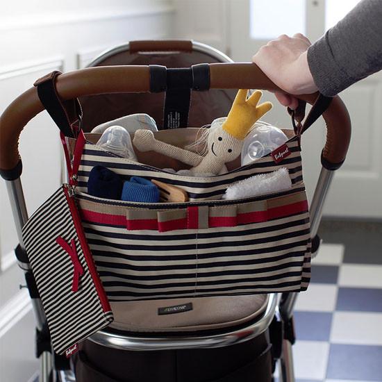 Babymel Stroller Organizer - Navy Stripe-3