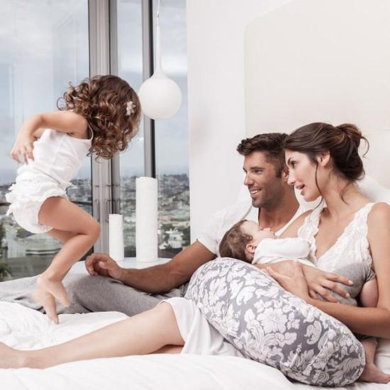 Bebe Au Lait Premium Cotton Nursing Pillow - Chateau Silver-3