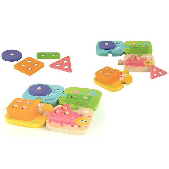 Bonikido Eco-Friendly Wooden Geometric stacking puzzle-2