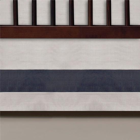 Oilo Band Crib Skirt - Linen and Charcoal