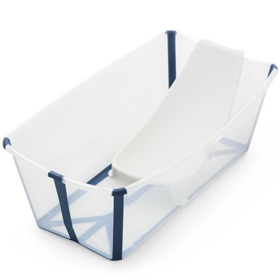 Stokke Flexi Bath Heat Sensitive Tub + Newborn Support - Transparent Blue