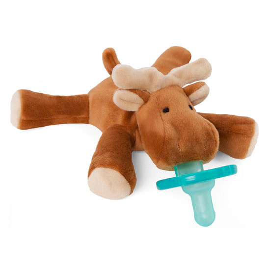 WubbaNub Plush Pacifier - Brown Moose-2
