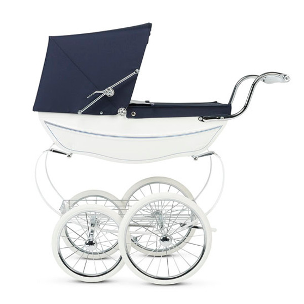 Silver Cross Handmade Doll's Pram - White & Navy