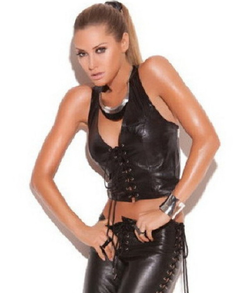 c22a142dc50 Leather Halter Top Bustier w Lace Up Front - Sz S Only - Perennial ...