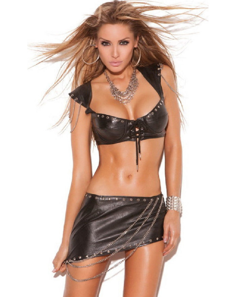 Leather Bra Top w Cap Sleeves - Sizes 32 - 36 - CLEARANCE!