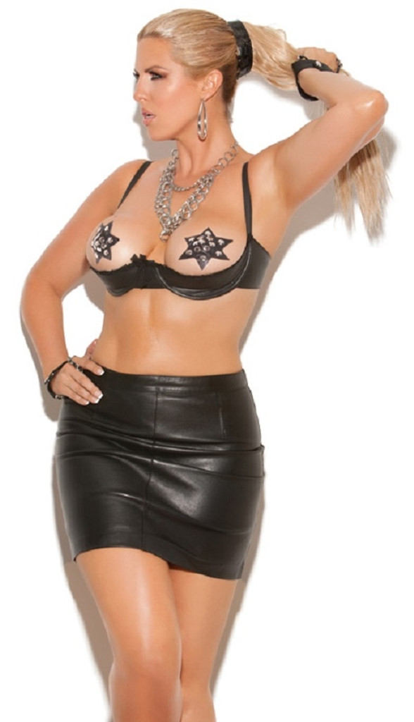 Leather Underwire Shelf Bra Trimmed in Lace