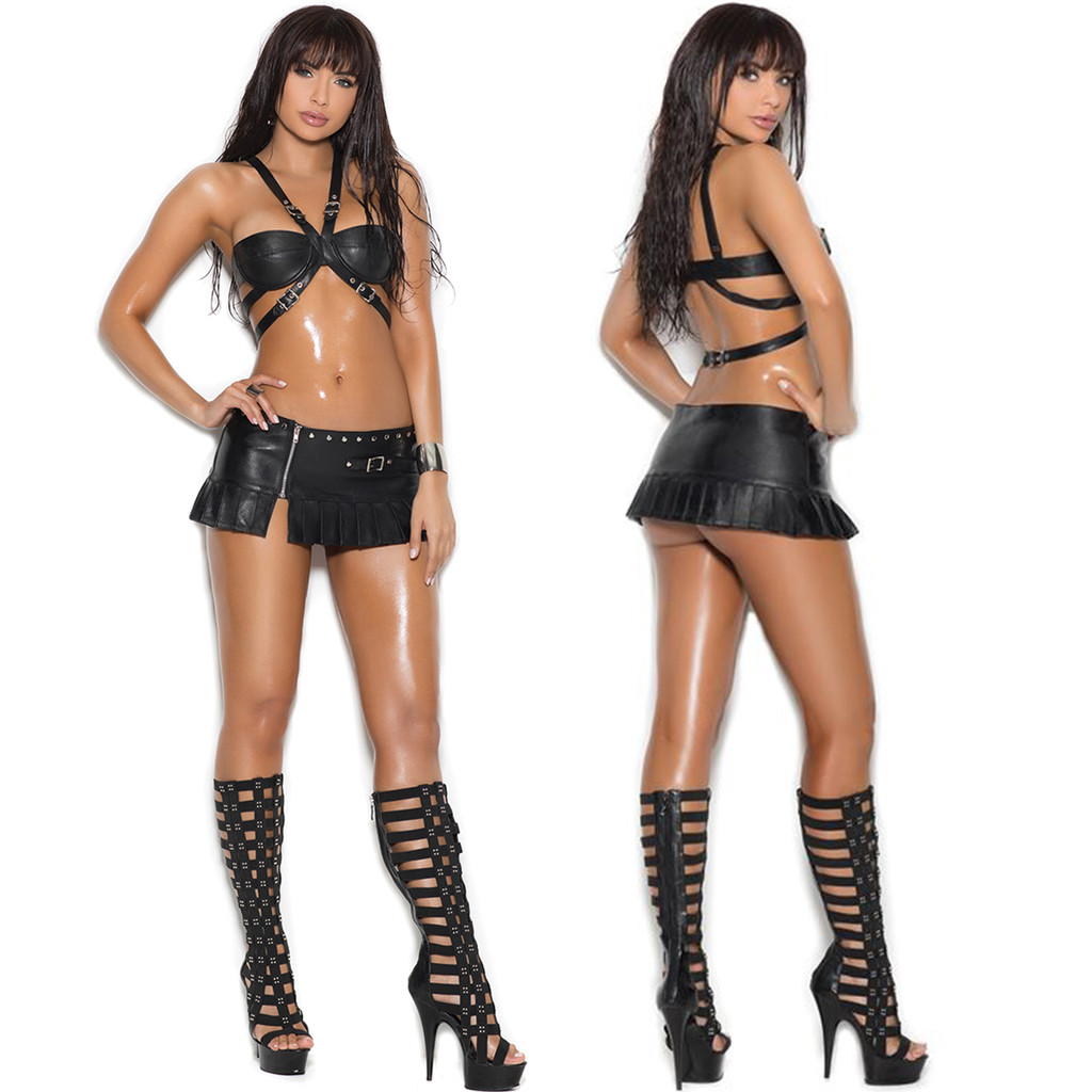 Leather Mini Skirt Shown with Leather Bra (Style L1950)