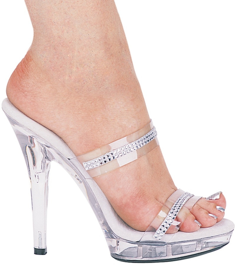 """Clear Mule Style Sandal w 5"""" Heel and Rhinestone Detail - Sizes 5 to 12"""