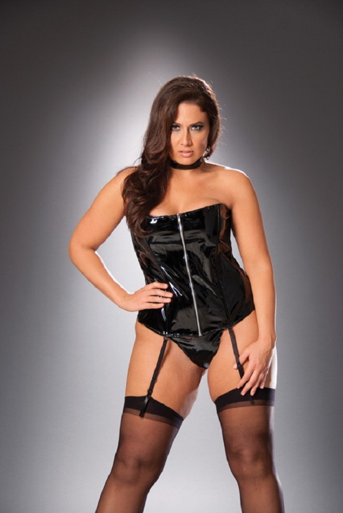 Zip Up Vinyl Corset - Sizes 32 to 44 - CLEARANCE!