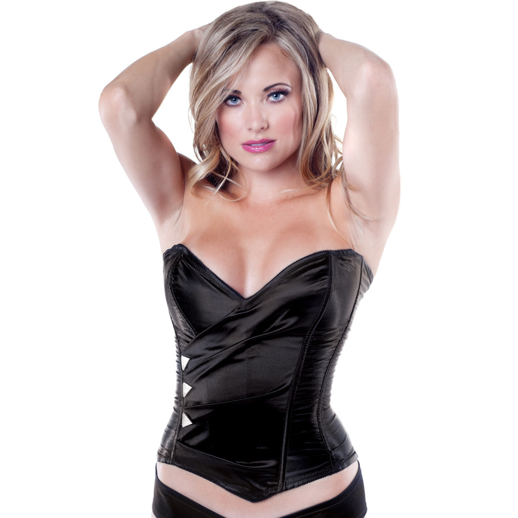 Strapless Corset w Lace Up Back & Side Zipper - Black w Rhinestone Detail - HUGE CLEARANCE!- Sz 32-36