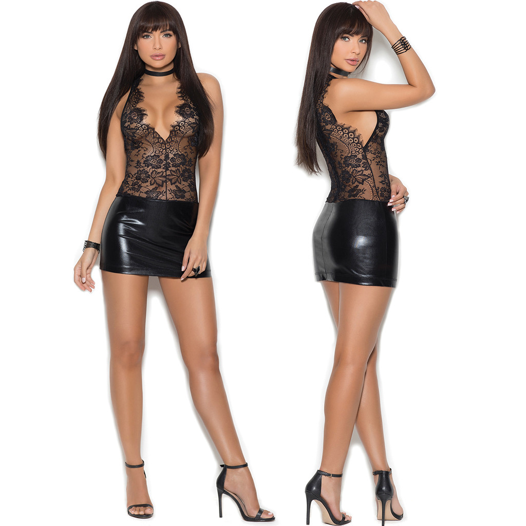 Front & Back of Lace and Wet Look Mini Dress