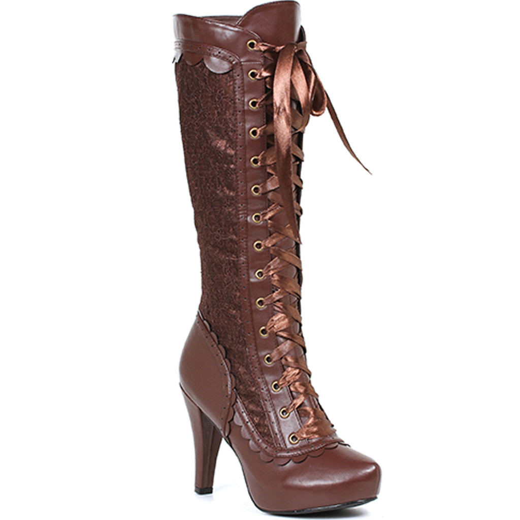 Victorian Influence Knee High Boot w Front Ribbon - 3 Colors in 6-12 - MARY