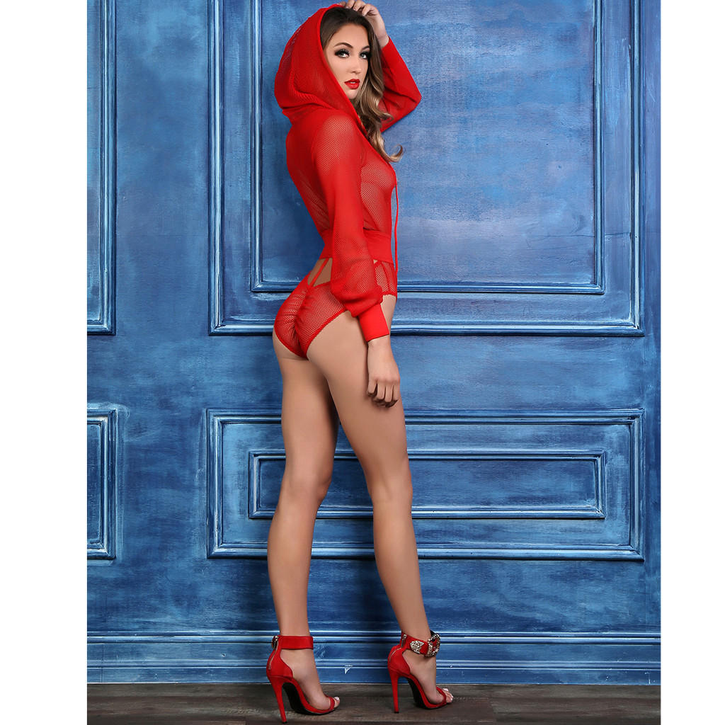 RED Fishnet Body Suit w Hoodie - Shown from the Side
