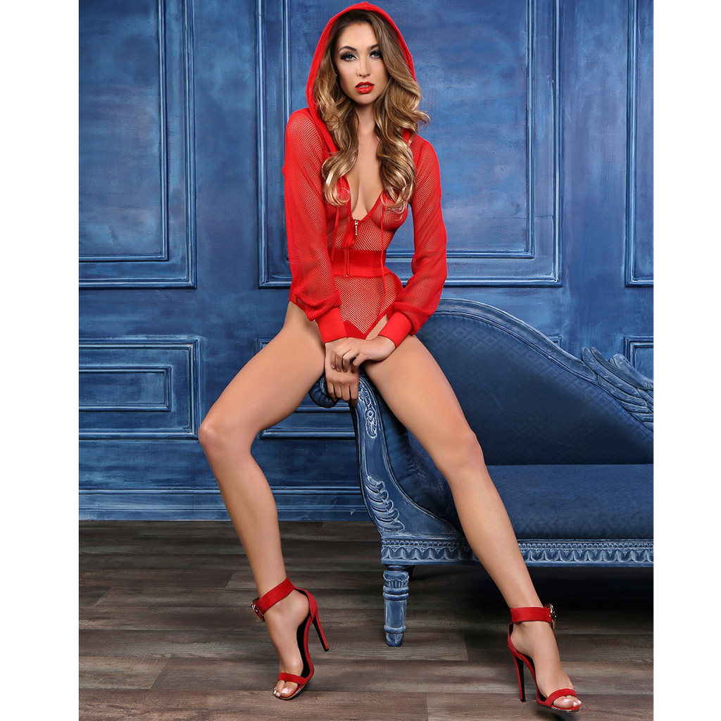 RED Fishnet Body Suit w Hoodie - Shown from the Front