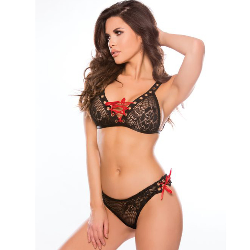 Bra & Panty Set - Black, Laced with Red Ribbon