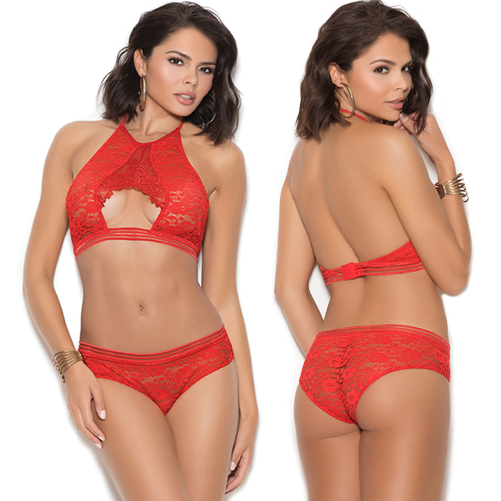 Lace Halter Bralette w Matching Panty - RED - Sizes up to 3X