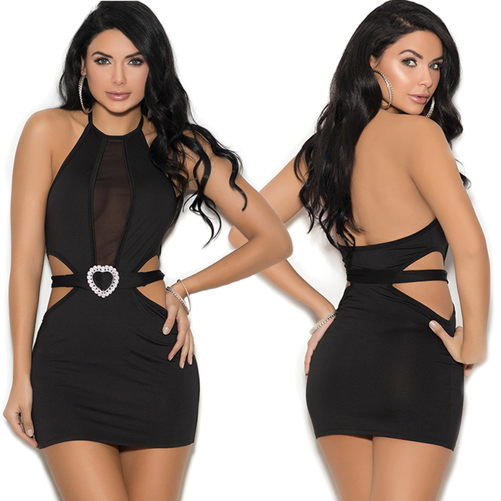 Lycra Halter Neck Mini Dress w Mesh Insert & Belt - Size S-3X
