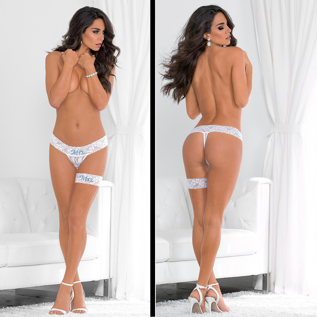 Garter and Thong Set is available in O/S and XL