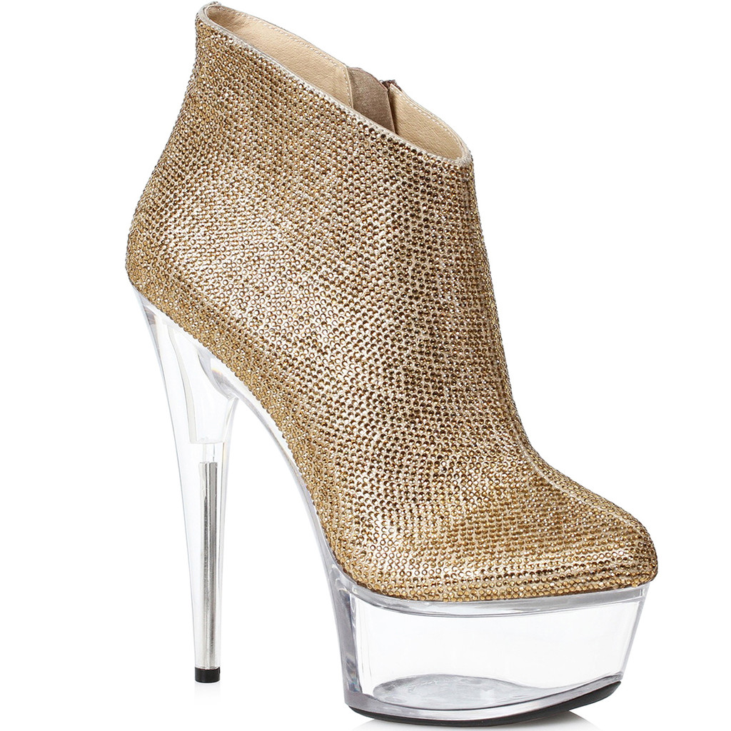 Bootie in Gold w Clear Heel and Platform.  Inside Zipper
