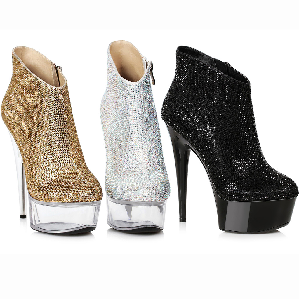 """Bootie w 6"""" Stiletto Heel and Approx. 2"""" Platform.  3 Colors"""