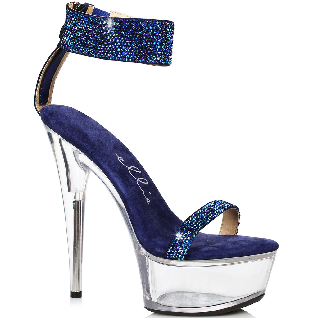 Blue Sandal w Rhinestones - Clear Base & Heel on all but the Black Sandal