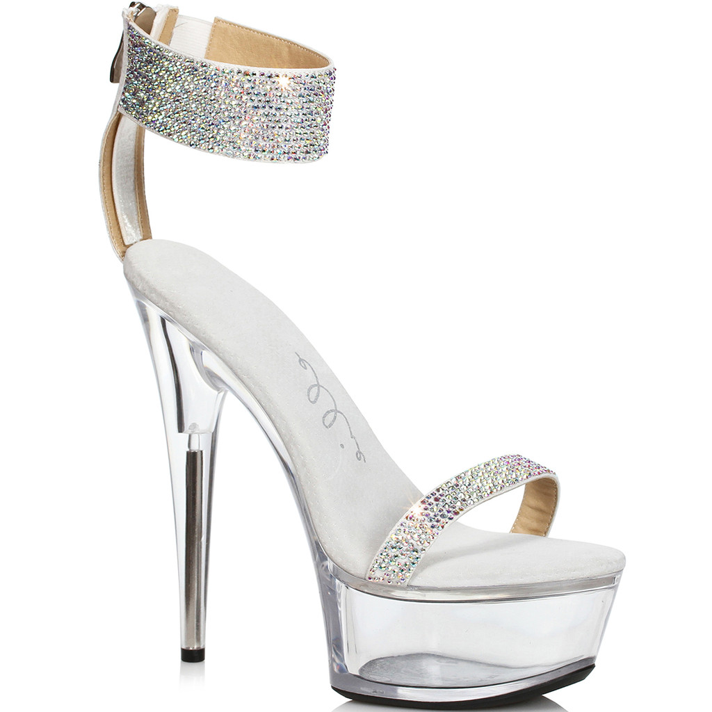 Silver Sandal w Rhinestones - Back Zipper for easy on/off