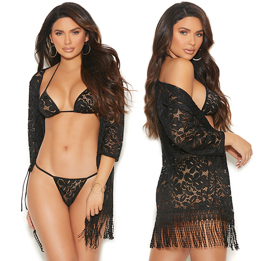 Lace Robe w Matching Bra Top and G-String - Closeup