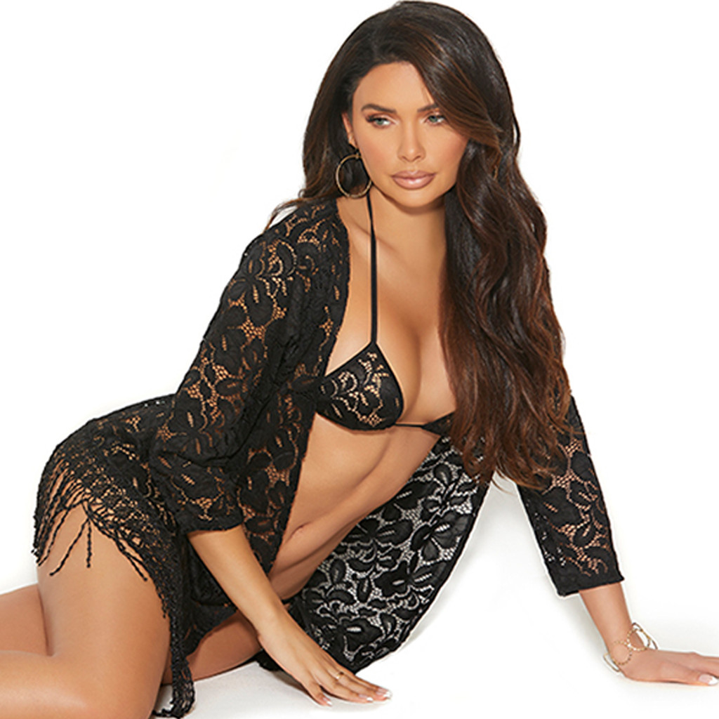 Lace Robe, Bra Top and G-String Set - Gorgeous!