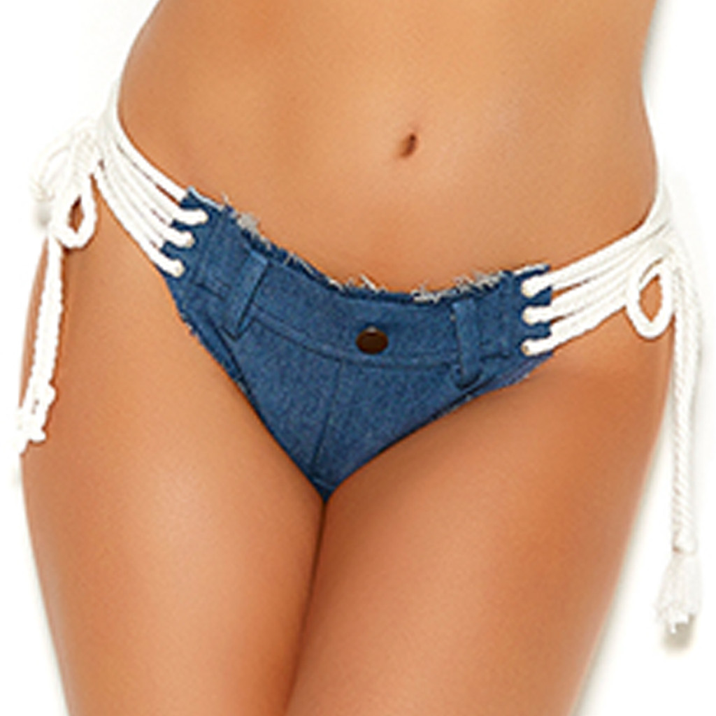 Denim Micro Mini Shorts w White Lace Up Sides - Front View