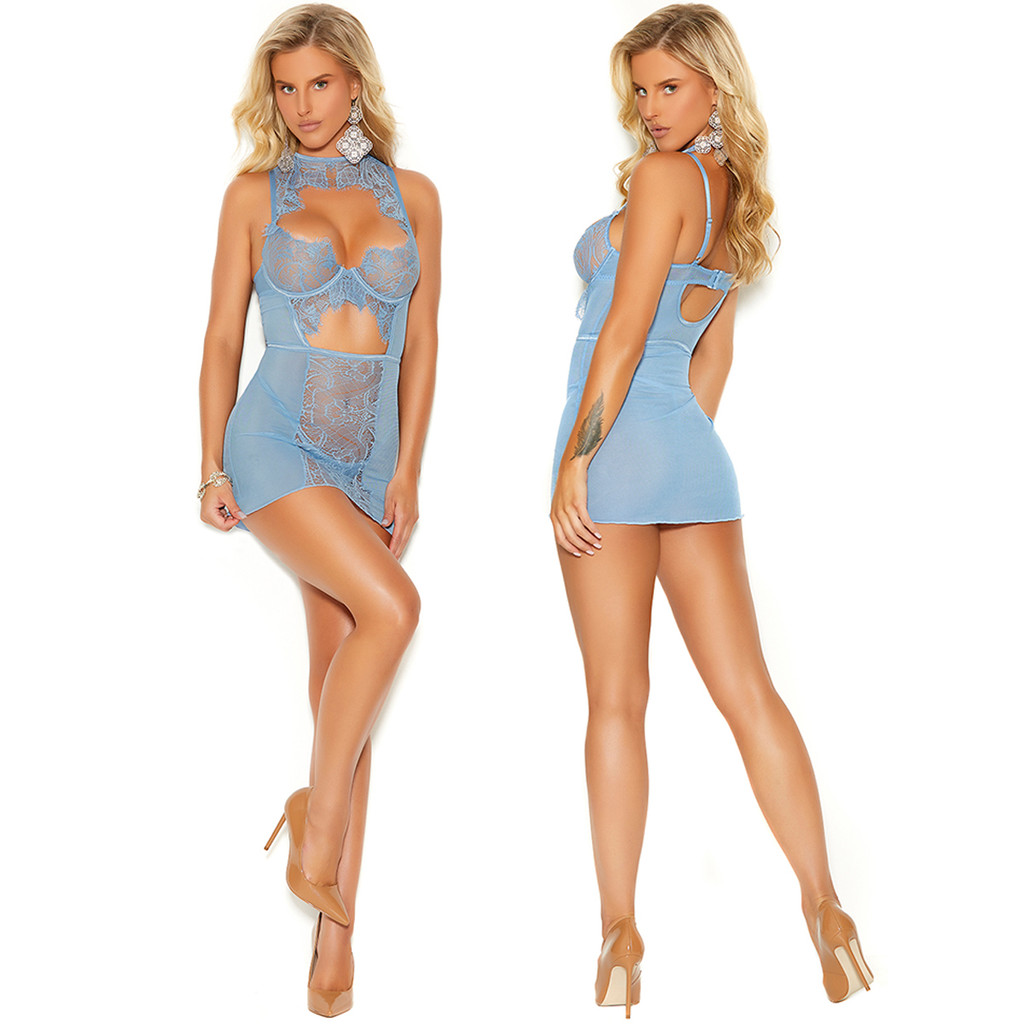 Baby Doll with Keyhole Front.  Matching G-String Panty.  Front & Back Full View.