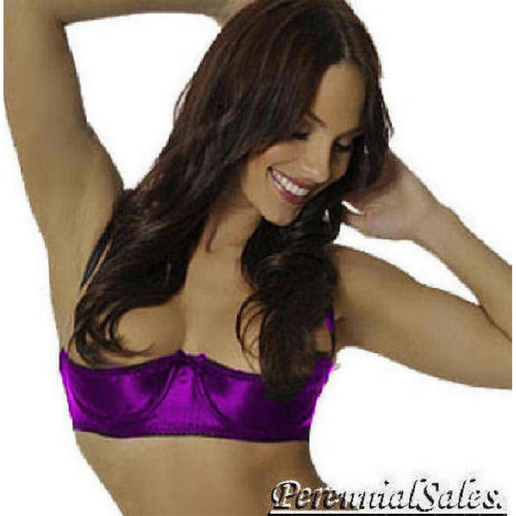The Satin Shelf Bra is available in BAND Size 34 through 44 - this pic shows Purple