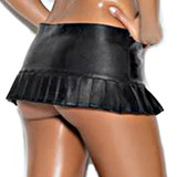 Leather Pleated Zip Front Mini Skirt
