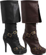 "4"" Heel Knee High Boot with Criss Cross Straps and Buckles"
