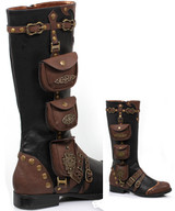 "1"" Steampunk Knee High Boot w Buckles & Pouches - Black - Sz 6-11 - SILAS"