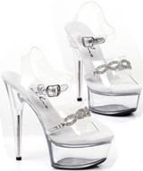 "Clear Sandal w 6"" Heel and Rhinestone Chain Link Look Detail"