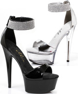 "6"" Stiletto Heel Sandal w Rhinestone Detailed Ankle Strap"