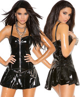 Vinyl Corset Mini Dress w Zipper Front & Chain Detail